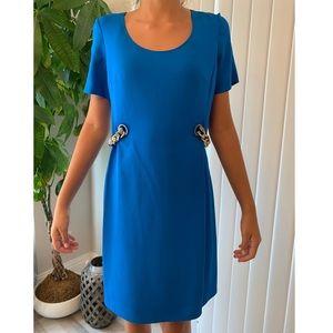 EMILIO PUCCI blue side chain silk dress 8 classic
